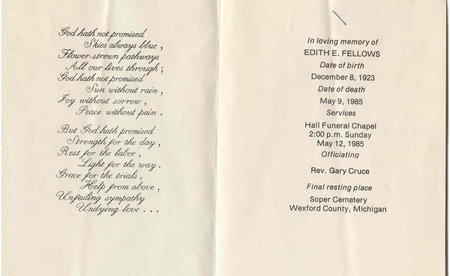 Edith Watson Fellows funeral card