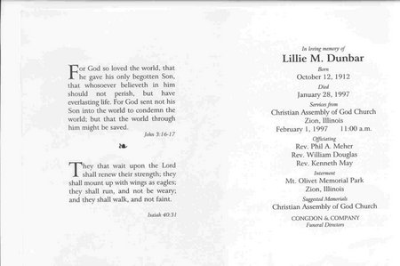 Lillie Warren funeral card